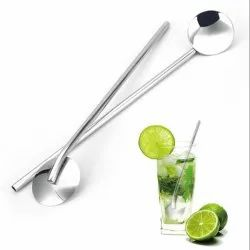 Polished 1 Stainless Steel Straw Spoon