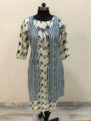 Lavanya Stripes Kurti With Flower Base Jacket- Blue