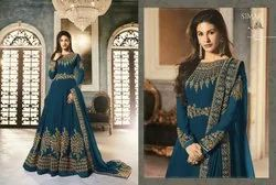 Thankar Georgette Stylish Fancy Latest Embroidered Anarkali Suit, Dry clean