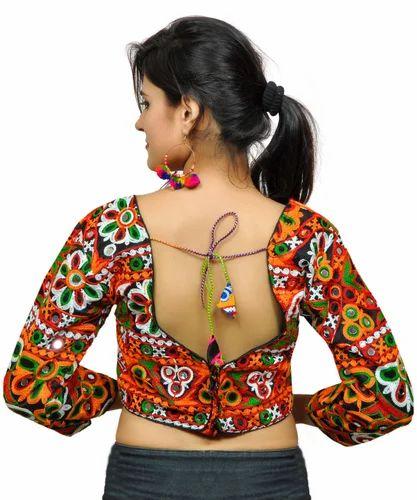 7f41a3dd9ca794 Banjara India Women  s Dupion Silk Aari Embroidered Long Sleeves Kutchi  Blouse (FS Singham