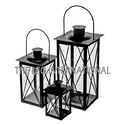 Metal Lantern Set of 3 Black Color