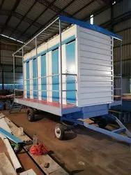Four Seater Frp Modular Trolley Mounted Toilet Van