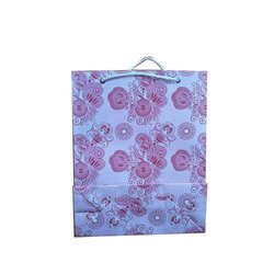 White And Pink Printed Shopping Paper Bag