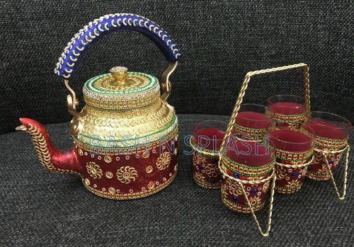 Bash N Splash Handwork Decorative Tea Kettle Set Size 2 Liter Rs