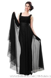 Flared Indian Plain Black Georgette Semi Stitched Gown
