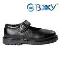 Black Kids Leather School Shoes