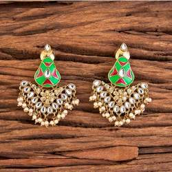 INDO WESTERN CLASSIC EARRINGS WITH MEHNDI PLATING 8997