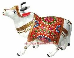 Metal Cow Meena Work Statue