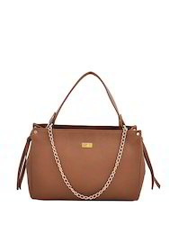 Brown Synthetic Leather Handbag