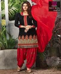 Trendy Embroidered Cotton Patiala Suit