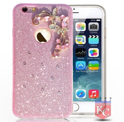 watch 47c53 4c0f6 Floral Flower Glitter Crystal Candy Soft Silicone Case Back Cover For  Iphone 5s Pink