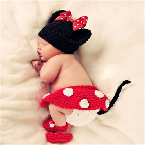 Babymoon Decut Baby Minni Mouse Hat, Skirt, Shorts & Booties Crochet  Clothing Swashh (rose Red)