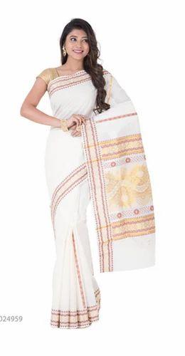 605e972b87 Zari And Thread Butta Traditional Off White Kerala Cotton Saree, With Blouse