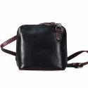 Leather Plain Ladies Black Hand Bag