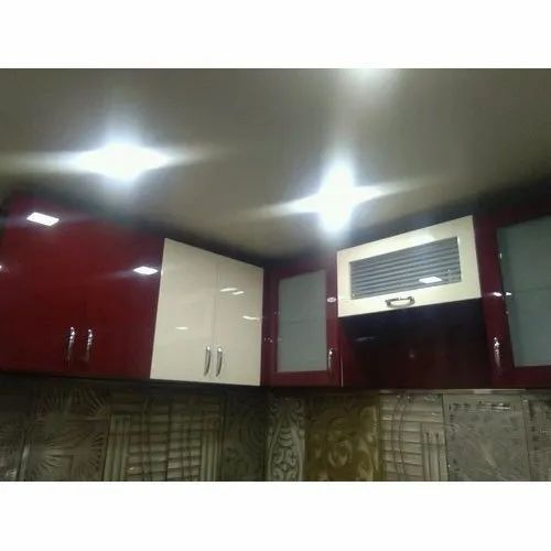 Stainless Steel (Handle) Designer Acrylic Kitchen Cabinets
