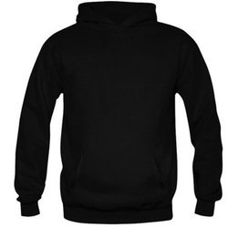 Black Cotton Polyester Blend Mens Casual Hoodies