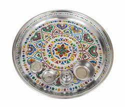 Silver Heart Designed S.S Meenakari Puja Plate