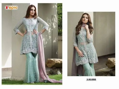 78372980ff Net Party Wear Designer Sharara Pakistani Style Suit, Rs 1300 /piece ...