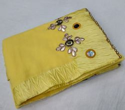 Georgette Mirror Work & Hand Work Yellow Saree