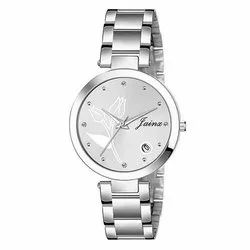 Women Silver Chain Analog Day and Date Watches