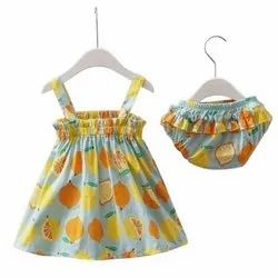 Cotton Fruit Print Frock With Romper Set