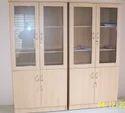 Particle Board Rectangular Wooden Storage With Glass Door