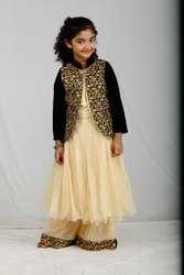 Black And Cream Party Wear Kids Readymade Frock Design Suit with Palazzo pant