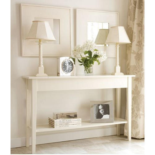 Wooden White Rectangular Slim Study Table