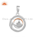 Natural CZ Pink Pearl Sterling Silver Round Design Pendant