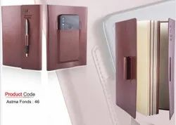 Premium Notebook With Mobile Pocket & Pen