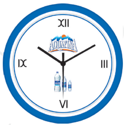 Blue and White Plastic Promotional Round Wall Clock