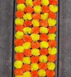 Dual Color Artificial Marigold Flower Garlands Yellow And Orange