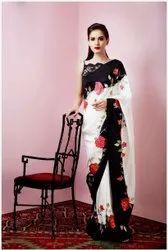 Satin Silk Digital Printed Saree