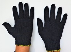 Blue 35 Gram Cotton Knitted Hand Gloves
