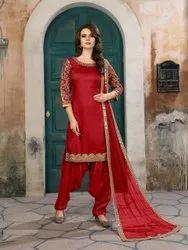 Embroidery Semi Stitched Designer Heavy Fancy Art Silk Salwar Kameez Suit