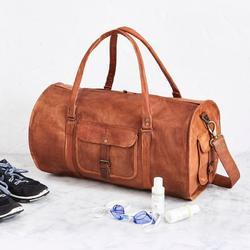 Round Leather Duffel Bag