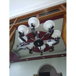 Metal and Glass 8 Bulb Hanging Chandelier Light