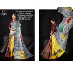 Rachna Linen Silk Digital Printed Portrait Again Catalog Saree For Women 7