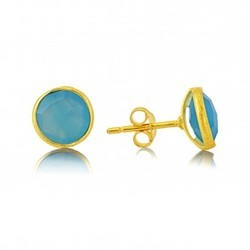Turquoise Gemstone Micron Gold Plated Handmade 925 Silver Bezel Stud