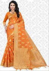 Golden Orange Super Net Saree