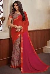 Smoke Grey Hot Red and Fuchsia Georgette Print Saree