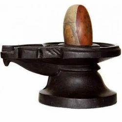 Narmada Shivling With Black Marble Yoni Base