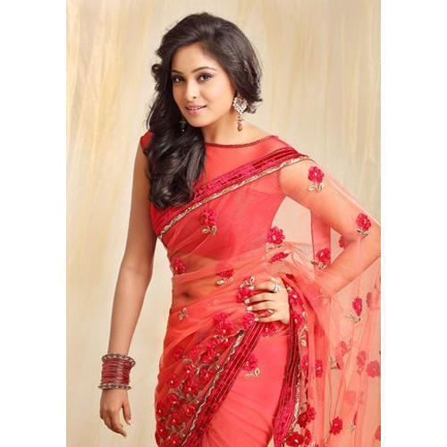 db825e65755 Red Party Wear Designer Net Saree