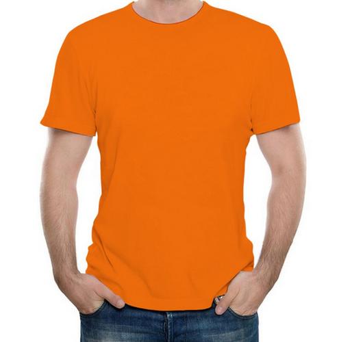 Orange Plain Cotton Round Neck T-shirt b2446dd2a03