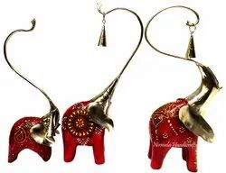 Set Of 3 Decorative Iron & Wooden Fusion Bell Elephant Showpiece