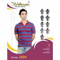 Plain Wellman Collar T-Shirt, Size: M