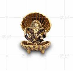 Gold Plated Sheshnag Ganesh Murti