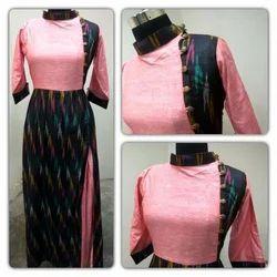 Ikkat Bhagalpuri Embroidered Gown, Packaging: Box