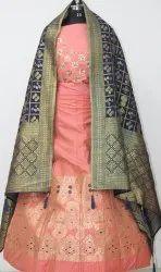 Semi-Stitched Pink Designer Lehenga Choli