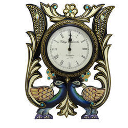 Indian Handmade Art Peacock Wall Clock